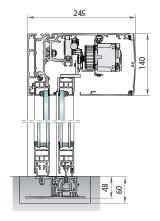 Perfilería cristal de cámara salidas emergencia redundantes, una o dos hojas correderas