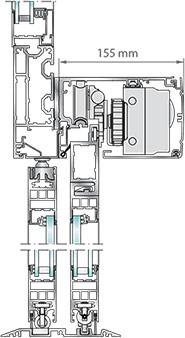 L'estructura robusta de l'operador amb perfil suporti, permet un fix superior opcional, integrant-ho en la façana i garantint un muntatge senzill i ràpid