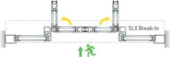 Porta corredissa Gilgen SLX Break-In Amb fulles fixes Pot utilitzar-se, per exemple, com una porta de sortida d'emergència interior.
